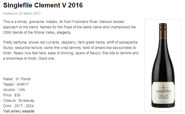 91 points, Mike Bennie, The Wine Front, Mar 2017