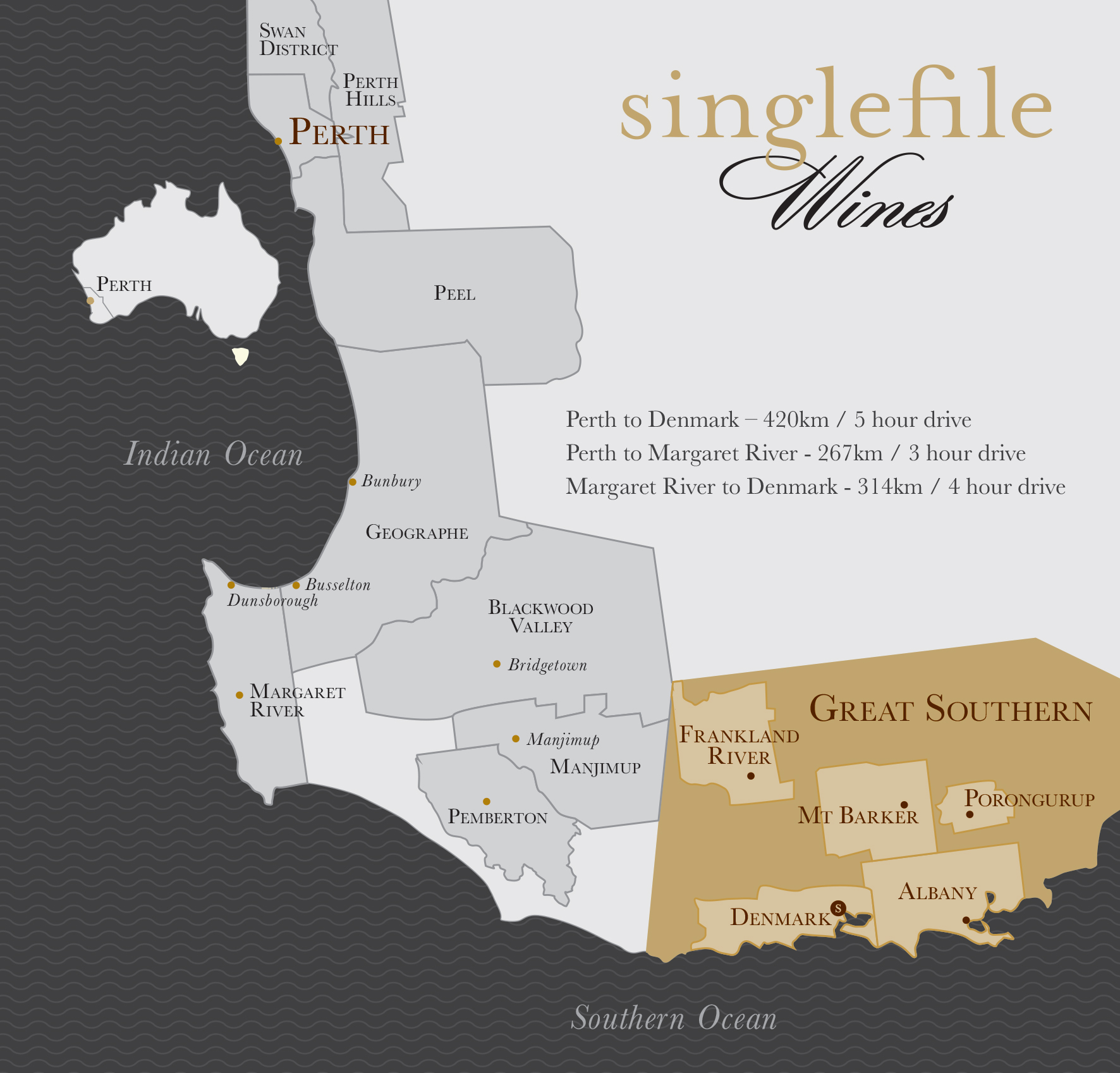Singlefile Wines Great Southern Wine Region - Map of the southern region of the us